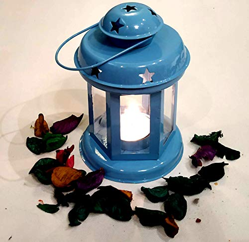 Akanksha Arts Decorative Lantern/Lamp with Tealight Candle Hanging Light Blue 6 x 3.7 x 3.7 inches