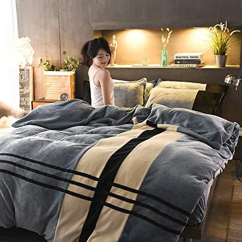 Dekbedovertrek met kussensloop, 4-delig, 1,8 m bed, warm, laken, kussensloop, koraal, velours, grijs, geometrisch