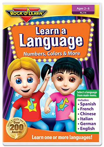 Learn A Language: Numbers, Colors & More DVD by Rock 'N Learn - Spanish, French, Chinese, Italian, German & English (6 languages on one DVD)