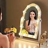 LUXFURNI Hollywood Specchio da trucco illuminato con 12 luci LED, controllo touch dimmerabile luce fredda/calda, angolo regolabile per tavolo da toeletta (bianco)