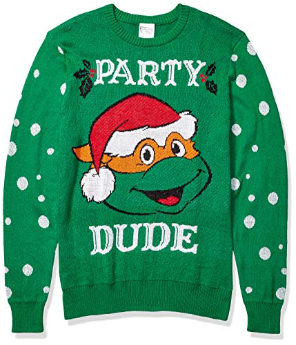 Nickelodeon Men's Ugly Christmas Sweater, Party Dude/Green, Large