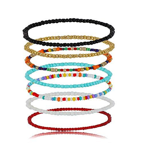 Boho Anklet for Women Teen Girls Handmade Elastic Beaded Ankle Bracelets for Women Summer Foot Jewelry (7PCS)