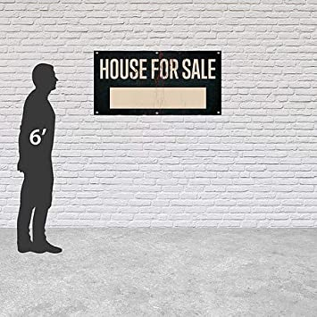 CGSignLab House for Sale Ghost Aged Rust Heavy-Duty Outdoor Vinyl Banner 8x4