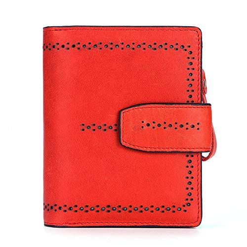Qiy Multi-Card Position Wallet Rindsleder Echtleder-Kartensteckplatz, ID-Fenster-Kartenetui, RFID-Blockierung, Münzfach mit Reißverschluss, Geldbörse für Damen Herren,Red