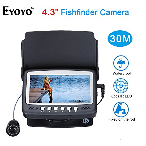 Eyoyo 15M 4.3' LCD Ice/Sea Fish Finder 1000TVL Underwater Fishing Camera with Sun-Visor