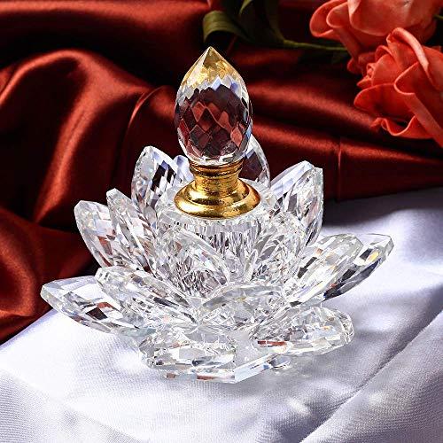 AMITD, kristal, lotusbloem, wierookbrander, figuren, miniaturen, Feng Shui, glas, parfum, fles voor wooncultuur, geschenken voor bruiloft, souvenirs (wit)