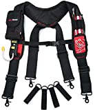 Melo Tough Magnetic Suspenders Tool Belt Suspenders with Large Moveable Phone Holder, Pencil Holder, Adjustable Size Padded Suspenders (Red)