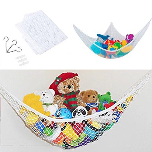 Hamaca de juguete, organizador de juguetes, hamaca de almacenamiento, ultraligera, gran red de almacenamiento para osos de peluche, bolas, juguetes, almacenamiento de ropa y equipo (1,411 m)