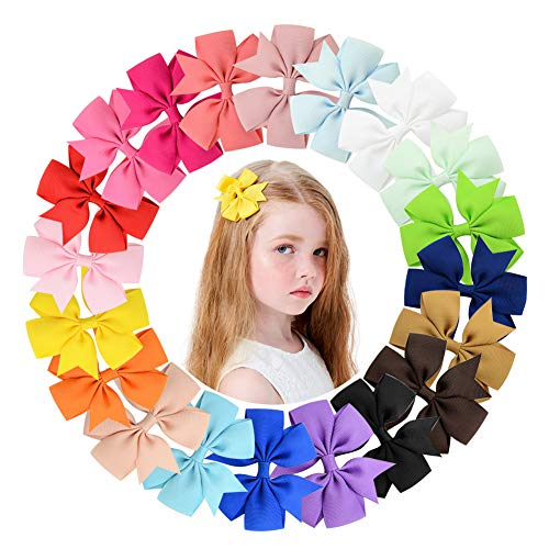 40 Pcs 3 inch Grosgrain Ribbon Baby Girls Hair Bows Alligator Clips Hair Accessories for Infants Toddlers Kids Teens (Color(1-20) 20Pairs)