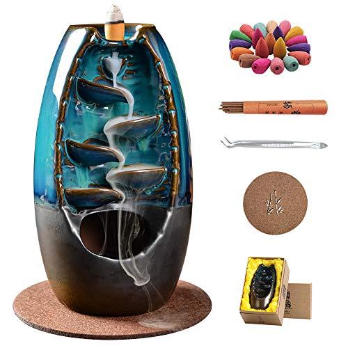 Tianqinuk Backflow Incense Holder, Ceramic Waterfall Incense Burner, Retro Aromatherapy Ornament Home Decor, Handmade Incense Holder Craft With 50 Cones + 30 Sticks + 1 Mat + 1 Gift Box + 1 Tweezer