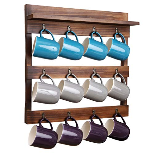 Mug and Cup Display Hanger Wall Mounted Coffee Mug Holder Coffee Cup Rack with 8 Detachable Hanging Hooks for Kitchen Organizer and Storage