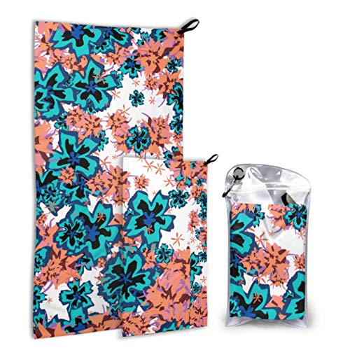 LICTshop Retro Traditional Ethnic Floral 2 Pack Microfiber Shower Towel Camping Outdoor Beach Towel Set Fast Drying Best for Gym Travel Backpacking Yoga Fitnes