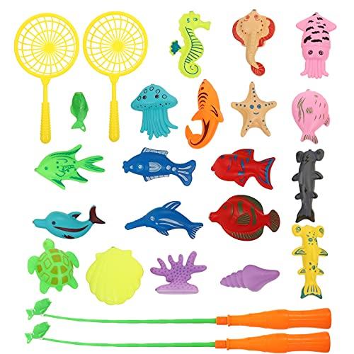STOBOK 25 Piezas de Juego de Pesca Magnético de Agua Piscina Juguetes de Baño con Caña de Pescar Flotante de Pesca de Juguete Educativo para Niños Pequeños