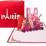 Carte pop-up « Paris je t'aime » - Carte à rabat 3D - Paris et la tour Eiffel - Bons de voyage et cadeaux - Carte 3D - Voyage urbain et voyage de mariage à Paris