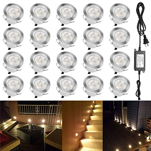 QACA Low Voltage Landscape Lights Outdoor Deck Lighting Kit 1W Waterproof Outdoor Yard Garden Decoration Lamps Landscape Pathway Patio Step Stairs Warm White, Pack of 20