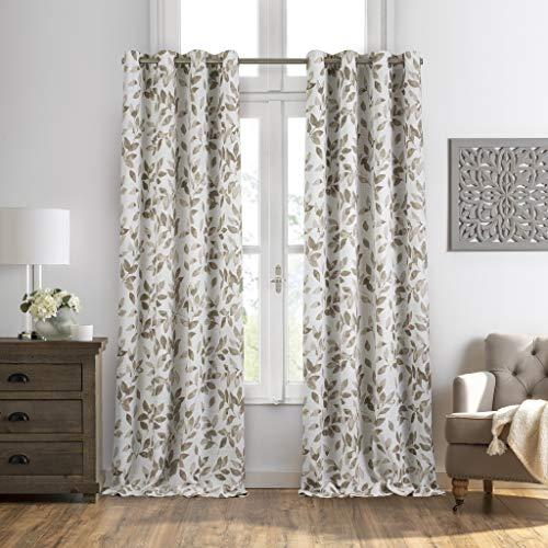"Elrene Home Fashions Avalon Cottagecore Botanical Floral Leaf Print Blackout Window Curtain Panel, 52"" x 84""(1, Linen"