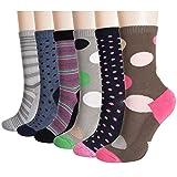 +MD Paquet de 6 paires de chaussettes pour Femme, nouveauté amusante, chaussettes tout-aller en bambou ultra-doux, à rayures colorées et à motifs de losanges WOMEN9-11