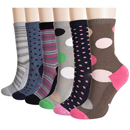 +MD Paquete de 6 para mujer Diversión Novedad Calcetines de equipo Calcetines casuales de bambú ultra suave Colorido Argyle Calcetines con estampado casual