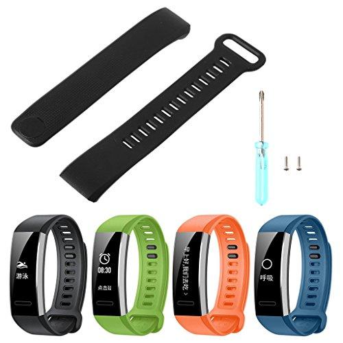 Jiamins Smart Watch Bracelet en silicone Strap Band de remplacement pour Huawei Band 2/Band 2Pro montre, Noir, 0.63