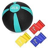 JBM Medicine Ball Slam Ball 2lbs + 3 Pcs Exercise Bands for Workouts/Exercise Strength Training Cardio Exercise Plyometric (Green - 2LB, Medicine Balls + 3 Pcs Straps)