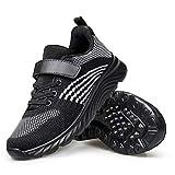 SILLENORTH Boy Girls Shoes Tennis Running Walking Shoes for Kids 12 Little Kid Black White