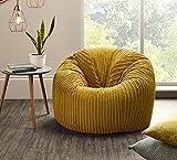 Jumbo Cord Beanbag Chair, Bean Bags in Plush Jumbo Cord, Great as Beanbag Lounger, Jumbo Cord Beanbags Recliner (MUSTARD)