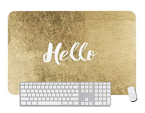 Alfombrilla de ratón para juegos moderna de imitación de oro blanco Hello Trendy tipografía para escritorio y portátil 1 paquete de 800 x 400 x 3 mm/31,5 x 15,7 x 1,1 pulgadas