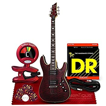 Schecter Omen Extreme-6 Electric Guitar Black Cherry Bundle with Guitar Tuner Strings Picks Cable and Cloth