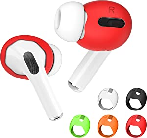 TOLUOHU 2021 New Upgraded 5 Pairs Airpods Pro Ear Tips Cover, Soft Silicone Ear Tips Accessories[Fit in The Charging Case] for Apple AirPods Pro 2019, Anti Slip/Dust/Dirt(Black/Red/White/Orange/Green)