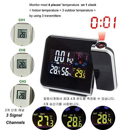 LiufUHAON Weerstation Digitale radio afstandsbediening alarm tijd met temperatuur buitenthermometer luchtvochtigheid hygrometer sensoren White RCC-3