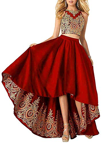 MKbridal Women's Hi-Low Homecoming Dresses Satin Lace Applique A-line Two Piece Formal Prom Gown with Pockets Red