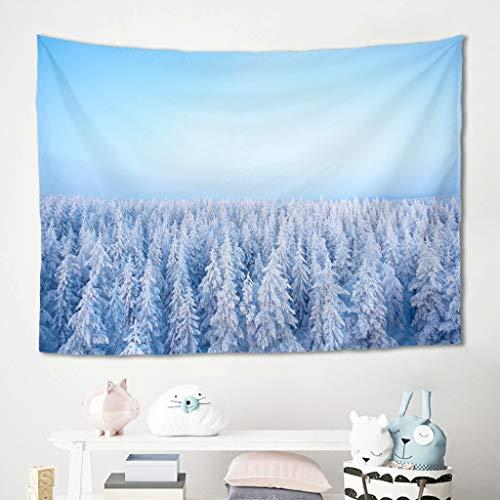 Niersensea Tapiz de pared para colgar en la pared, para invierno, nieve, abeto, para picnic, playa, para salón, dormitorio, decoración de pared, color blanco, 150 x 150 cm