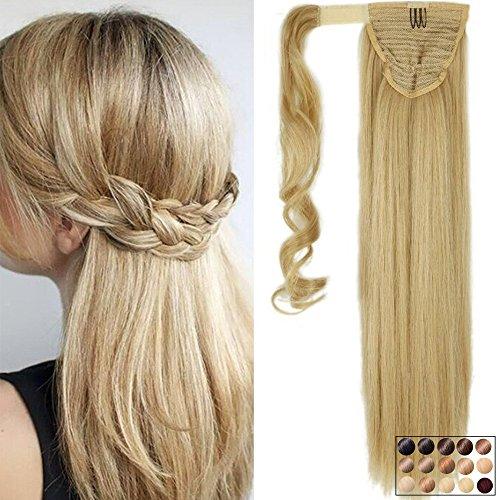 Clip in Extensions Pferdeschwanz Haarteil Blond Glatt Ponytail Extensions günstig Haarverlängerung 23