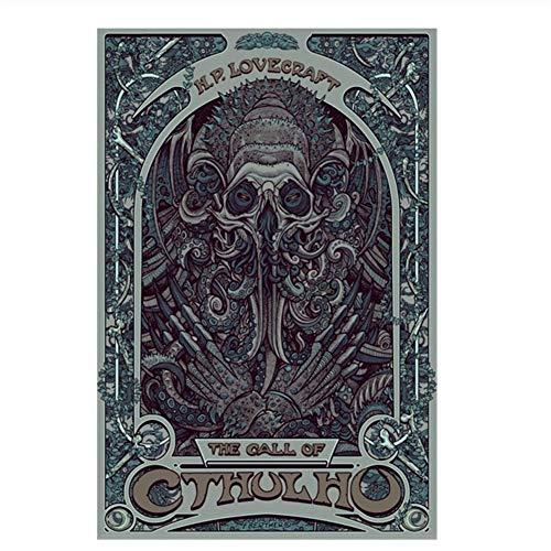 nr Dekoration HP Lovecraft Cthulhu Wandkunst Leinwand Malerei Poster Nouveau Abstraktes Bild Für Wohnzimmer Dekoration-50x70 cm Kein Rahmen