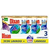 Dixan Discs Frescor di Lavanda, detergente preformado en cápsulas 4 en 1, limpieza profunda, 3 x 36 – 108 lavados – 2700 g