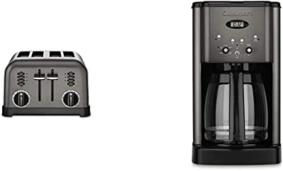 Cuisinart CPT-180BKS Metal Classic Toaster, 4-Slice, Black Stainless & DCC-1200BKS 12 Cup Brew Central Coffee Maker, Black Stainless Steel