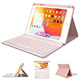 iPad Case Keyboard for 10.2' 8th/7th Gen - Pro 10.5' 2019/2017 Air 3rd Gen with Wireless Detachable BT Keyboard- Built-in Pencil Holder - Thin Slim Smart Folio Case - Tablet Case