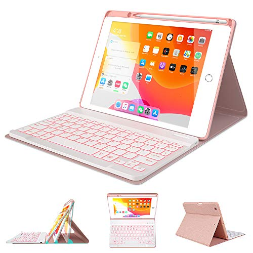 Keyboard Case 7th Generation for iPad 10.2 inch 2019-7 Color Backlit Wireless Detachable BT Keyboard - Built-in Pencil Holder - Thin Slim Smart Folio Case - Tablet Case for iPad 10.2' 2019 (Pink)