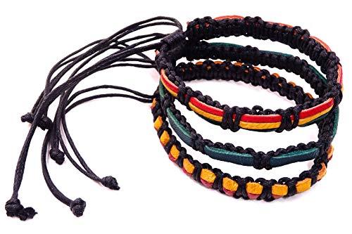 Lote de 3 pulseras brasileñas de piel de algodón de la amistad, macramé de algodón, amuleto de la suerte, pulsera rojo, verde, amarillo, negro, Rasta Reggae, Bob Marley Jamaica