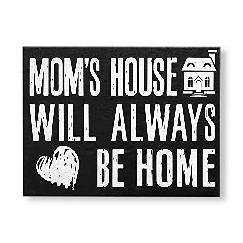 JennyGems Moms House Will Always Be Home | Wooden Mom Sign | Birthday Gift | Presents for Mom | Mom Gifts Meaningful Mom Gift