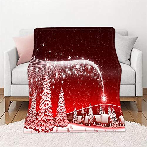 Chickwin Weihnachten Flanelldecke Kuscheldecke, 3D Wohndecke Weiche Warm Decke Flauschige TV-Decke Mikrofaserdecke Sofadecke oder Bettüberwurf Tagesdecke (Sternenlicht und Schneeflocke,150x200cm)