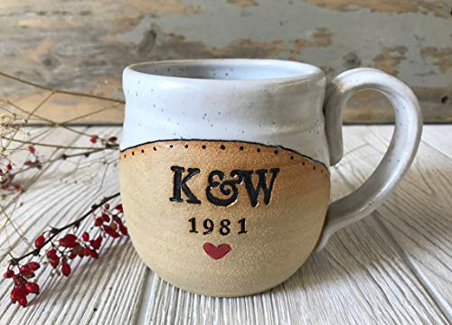 Stemless Wine Glass - Personalized Wine Glasses - Handmade Mug with Monogram and Date - Pottery - Custom Mug - Pottery Handmade - Ceramic Mug - Made to Order Mug Stemless Wine Glasses Disposable