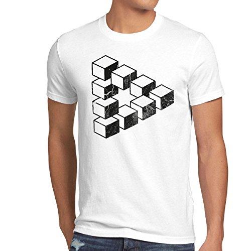 style3 Sheldon Cubo Camiseta para Hombre T-Shirt Escher triángulo, Talla:XL;Color:Blanco