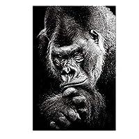 """キャンバスプリント抽象的な猿の動物のポスター黒と白のアートワークの絵画リビングルームの装飾のための北欧の壁の写真-60x90cm / 23.6""""x35.4""""フレームなし"""