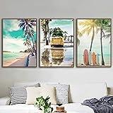 Beach Palm Coconut Tree Estrella de mar Tabla de surf Mar Arte de la pared Impresión en lienzo Pintura Cartel nórdico Imágenes de pared para la decoración de la sala de estar 40x60cmx3 Sin marco