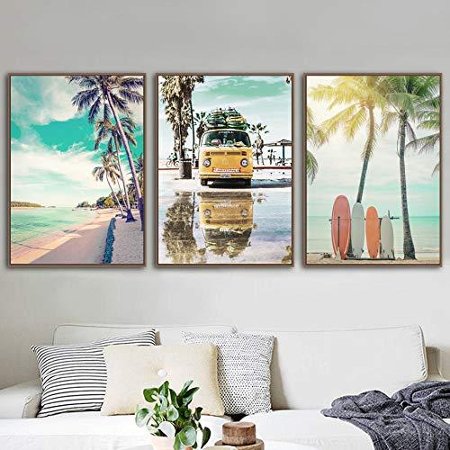 ZGZART Palmera de Playa árbol de Coco Tabla de Surf mar Pared Arte impresión Lienzo Pintura Cartel nórdico Cuadros de Pared para decoración de Sala de Estar - 50x70cmx3 (sin Marco)