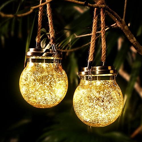 CREASHINE Lanterne Solari da Esterno,2 Pezzi Lanterne da Giardino,Lanterna Solare da Esterno,Lanterne da Esterno,30 Luci Solari Impermeabili a LED,Lanterna Sospensione Solare per Festa,Terrazza,Gazebo