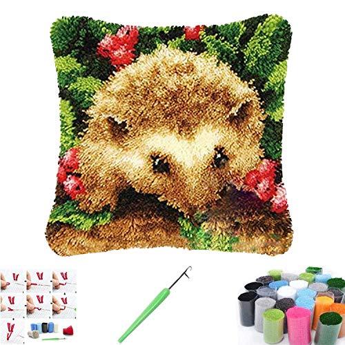 Kits de gancho de pestillo para hacer alfombras para adultos y niños, funda de almohada decorativa bordada, punto de cruz, manualidades, decoración del hogar (erizo)