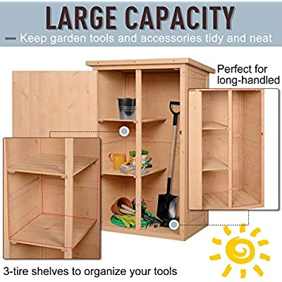 Outsunny Wooden Garden Storage Shed Fir Wood Tool Cabinet Organiser with Shelves 75L x 56W x115Hcm