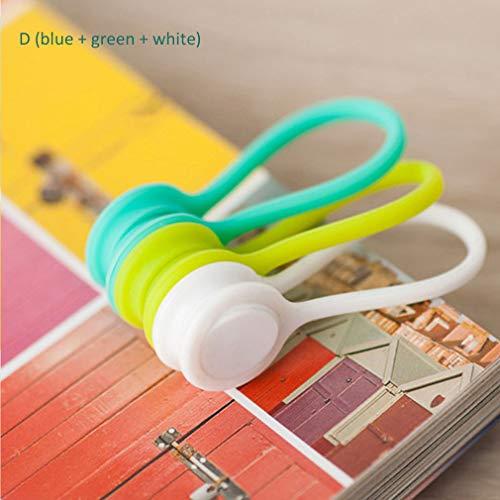 3 Stks Candy Kleur Magnetische Winder USB-datakabel kan worden gebruikt als een bladwijzer sleutelhanger